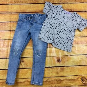 Little girls heart jeans and shirt set size 5t